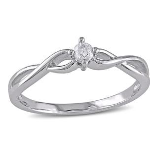 Miadora 10k Gold 1/10ct TDW Diamond Solitaire Twist Promise Ring (H-I, I2-I3)