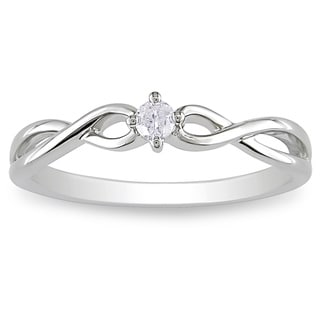 Miadora 10k Gold 1/10ct TDW Diamond Solitaire Twist Promise Ring (H-I, I2-I3)