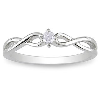 Miadora 10k Gold 1/10ct TDW Diamond Solitaire Twist Ring (H-I, I2-I3)
