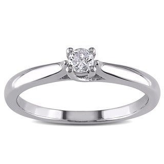 Haylee Jewels Sterling Silver 1/6ct TDW Diamond Solitaire Ring (H-I, I2-I3)