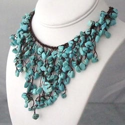 Handmade Reconstructed Turquoise V-Shape Waterfall Bib Necklace (Thailand)