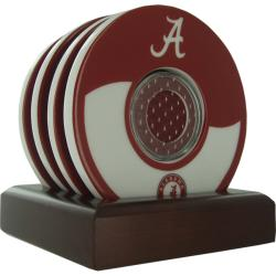 Steiner Sports Alabama Crimson Tide 'A' Coasters w/ Game Used Jersey (Set of 4)
