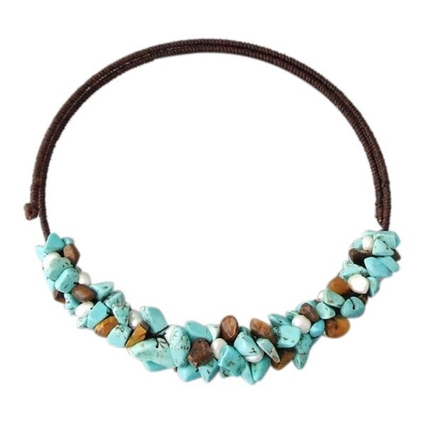 Handmade Pearl/ Turquoise/ Tiger's Eye Choker Wire Necklace (Thailand)