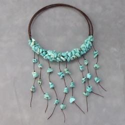 Turquoise Dangle Choker Wrap Necklace (Thailand)