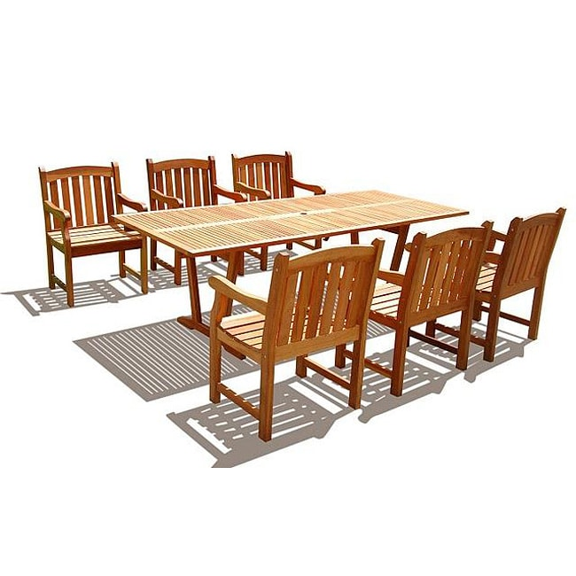 7 Piece English Garden Dining Set Patio Furniture Outdoor Deck Pool Weather