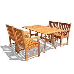 Outdoor Eucalyptus Wood 5-piece Curvy Dining Set