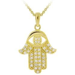 Icz Stonez 18k Gold over Sterling Silver Cubic Zirconia Hamsa Necklace