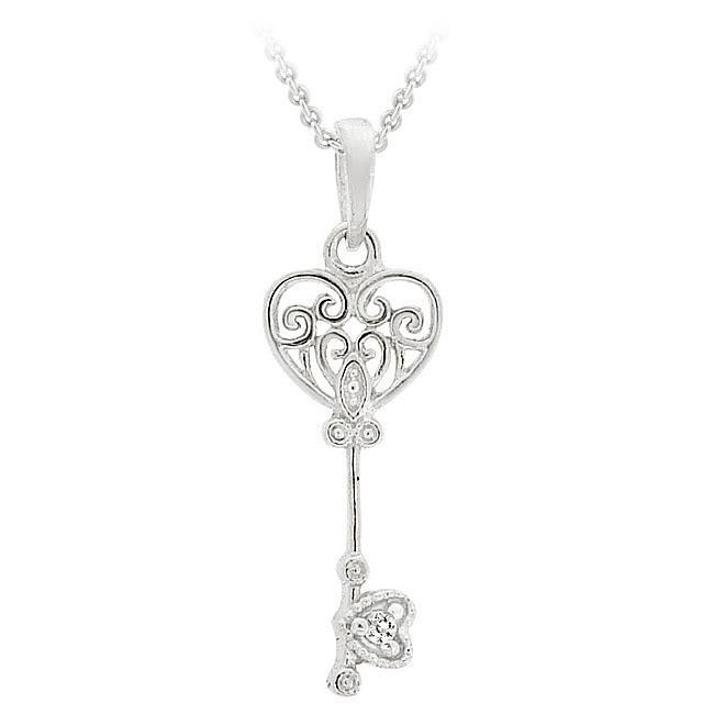Icz Stonez Sterling Silver Cubic Zirconia Mini Key Necklace