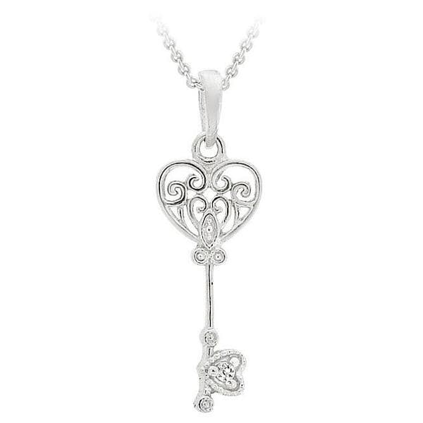 Icz Stonez Sterling Silver Cubic Zirconia Mini Key Necklace 7051447