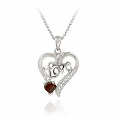 Glitzy Rocks Sterling Silver Garnet and Diamond Accent Love Heart Necklace