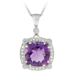Glitzy Rocks Sterling Silver Amethyst and Cubic Zirconia Necklace