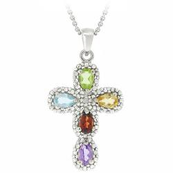 Glitzy Rocks Sterling Silver Multi-gemstone and Diamond Accent Cross Necklace