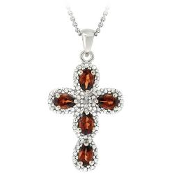Glitzy Rocks Sterling Silver Garnet and Diamond Accent Cross Necklace