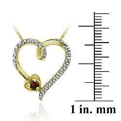 Glitzy Rocks 18k over Silver Garnet Diamond Accent Heart Necklace