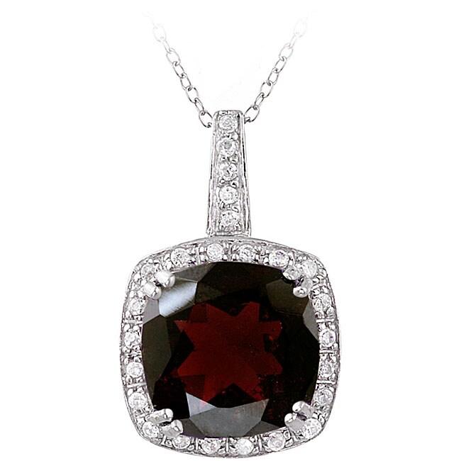 Glitzy Rocks Sterling Silver 10.35 CTW Garnet and Cubic Zirconia Necklace