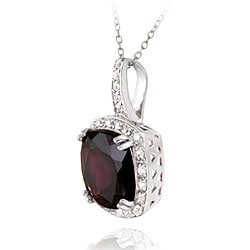Glitzy Rocks Sterling Silver 10.35 CTW Garnet and Cubic Zirconia Necklace