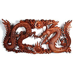 Suar Wood Dragon Yin-yang Wall Plaque (Indonesia)