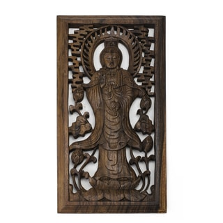 Suar Wood Quan Yin Wall Plaque (Indonesia)