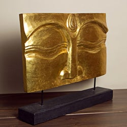 Suar Wood Gold Buddha Face Stand (Indonesia)