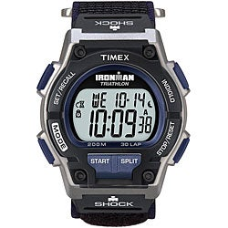 Timex Men's T5K198 Ironman Classic Shock 30-Lap Fast Wrap Velcro Strap Watch
