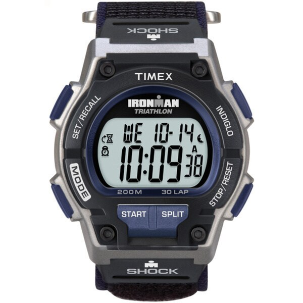 Timex Men's T5K198 Ironman Classic Shock 30-Lap Fast Wrap Velcro Strap Watch