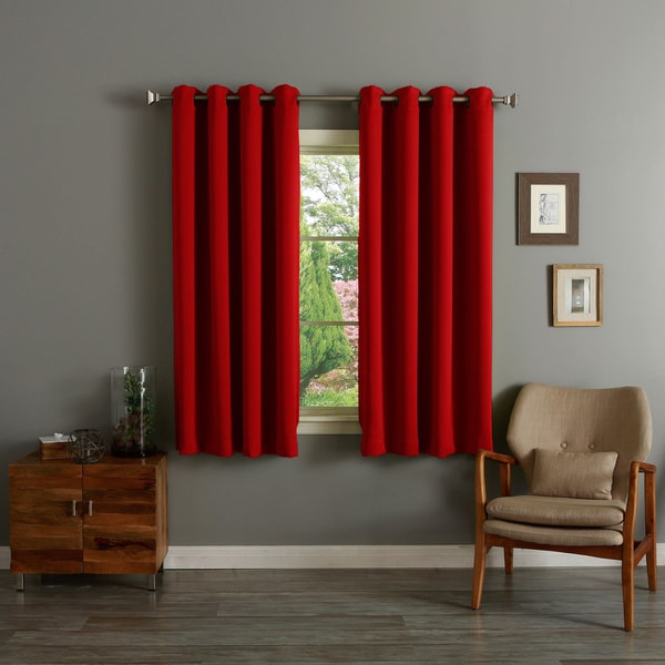 Aurora Home Grommet Top Thermal Insulated Blackout 64-inch Curtain Panel Pair - 12998488 ...