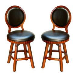 Carolina Bicast Leather Swivel Counter Stools (Set of 2)