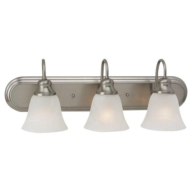 windgate 3 light brushed nickel fluorescent bath wall. Black Bedroom Furniture Sets. Home Design Ideas