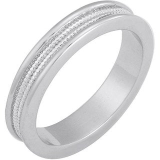 NEXTE Jewelry White Rhodium Overlay Men's Serrated Center Band