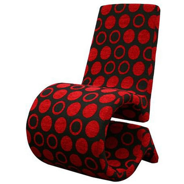 Forte Red/ Black Patterned Fabric Accent Chair
