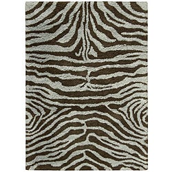 Nourison Splendor Hand-tufted Aqua Brown Rug (7'6 x 9'6)