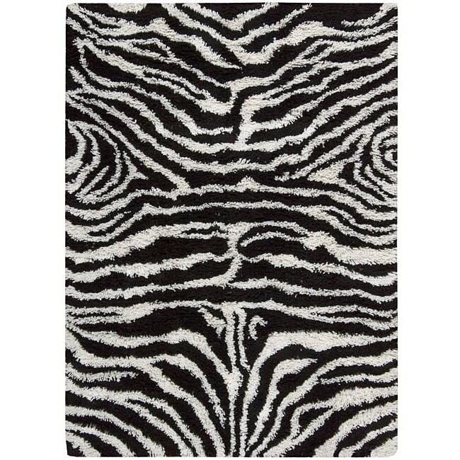 Nourison Splendor Hand-tufted Black/White Rug (5' x 7')