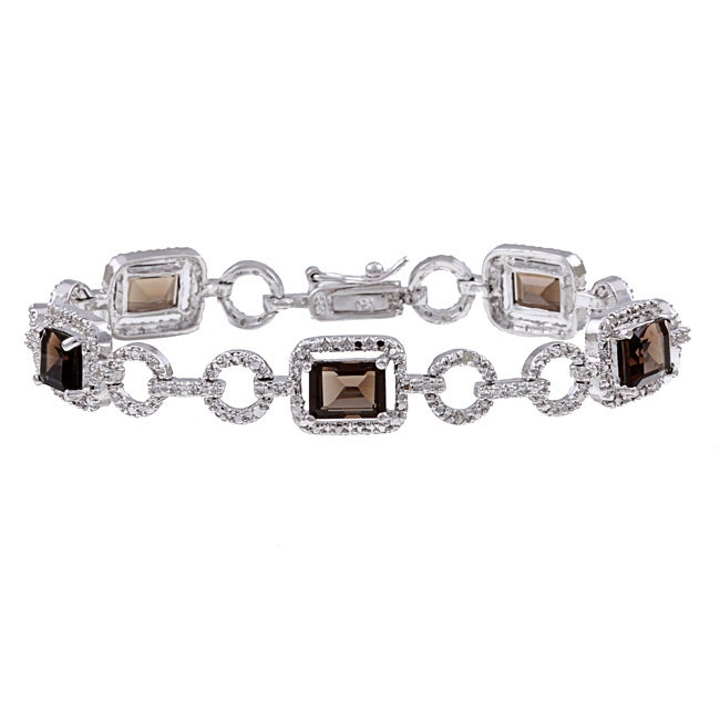 Dolce Giavonna Sterling Silver Smokey Quartz and Diamond Accent Link Bracelet