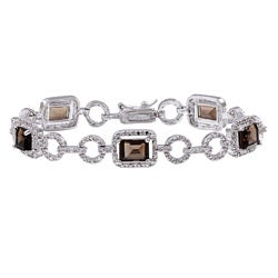 Dolce Giavonna Sterling Silver Smokey Quartz and Diamond Accent Link Bracelet