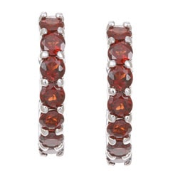 Dolce Giavonna Sterling Silver Garnet Hoop Earrings