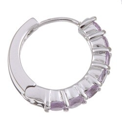 Dolce Giavonna Sterling Silver Amethyst Hoop Earrings