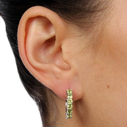 Dolce Giavonna High-polish Sterling Silver Round-cut Green Peridot Hoop Earrings