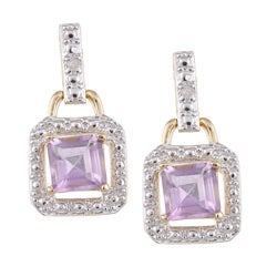 Dolce Giavonna Gold over Silver Amethyst and Diamond Accent Dangle Earrings