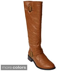 Journee Women's Mid-calf Buckle Faux Leather Boots