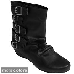 Bamboo by Journee Women's Buckle Crinkle Ankle Boots