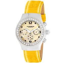 Akribos XXIV Women's Swiss Quartz Austrian Crystal Yellow Multifunction Watch