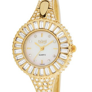 Burgi Women's 'Sizzling' Diamond and Crystal Gold-tone Bangle Watch