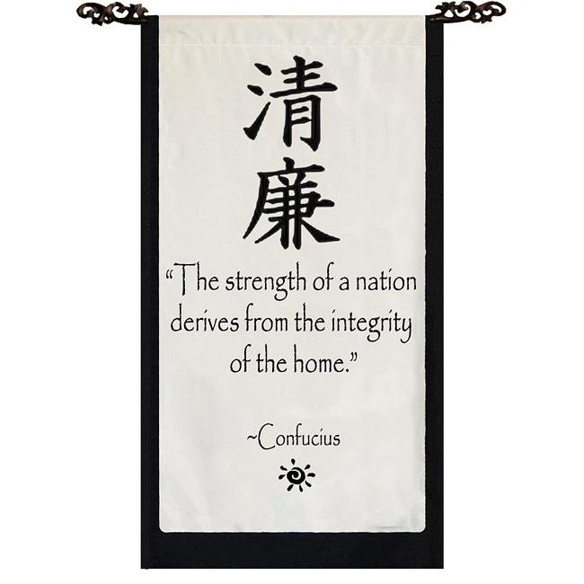 Cotton Integrity Confucius Quote Scroll (Indonesia)