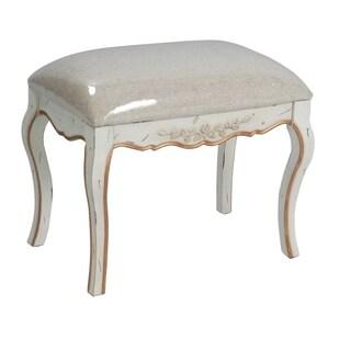 International Caravan Carved Wood Upholstered Vanity Stool