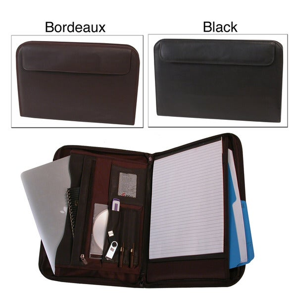 Stebco Nappa Fine-leather Zipped Padded Tablet-holding Writing Case