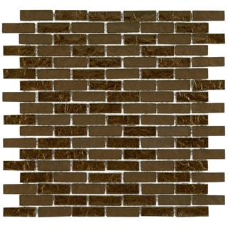 SomerTile 12x12-in Reflections Subway 5/8x2-in Empire Glass Mosaic Tile (Pack of 10)