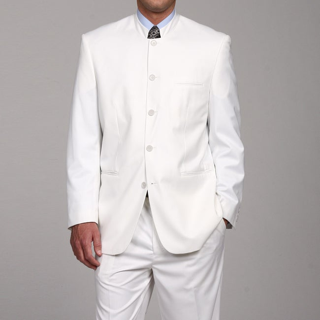 Ferrecci Men's White Mandarin Collar Suit