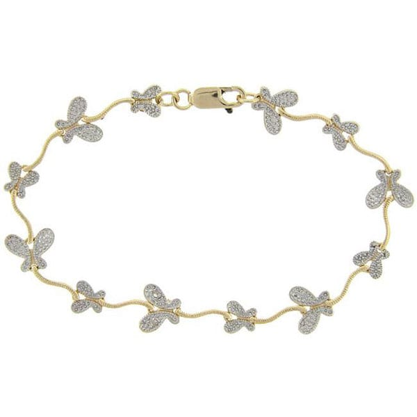 Finesque 18k Yellow Gold over Sterling Silver Diamond Accent Butterfly Bracelet
