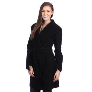 Larry Levine Women's Belted Wool Wrap Coat