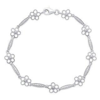 Finesque Sterling Silver Diamond Accent Milligrain Flower Bracelet